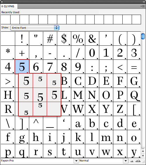 Selecting alternate glyphs for the numeral five in the Glyphs window.