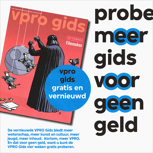 In August 2010 Dutch broadcasting corporation VPRO launched their new identity which was designed by Amsterdam-based agency Thonik. Based on the four letters that the studio had designed for the new logo a custom typeface was designed by Paul van der Laan. The typeface family was eventually executed in two weights and includes special ligatures (such as the Dutch 'ij') and alternative shapes.