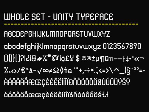 Unity typeface specimen.