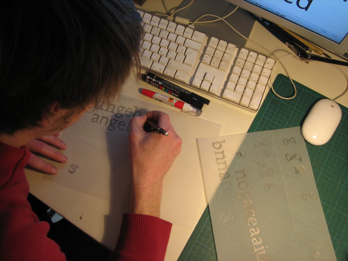 Frederik Berlaen   Type My Type drawing characters on tracing paper.