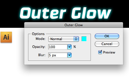 Selecting and applying the Outer Glow filter in Adobe Illustrator CS4.