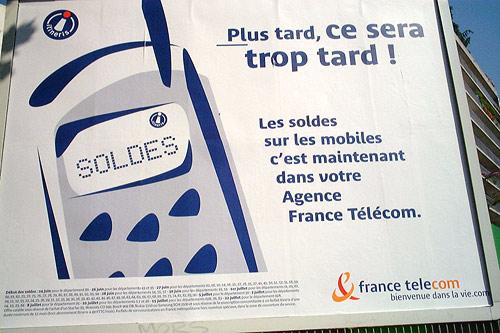 Bienvenue in use on a France Télécom advertisement poster