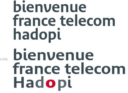 Hadopi logo simulated with Bienvenue by Jean François Porchez