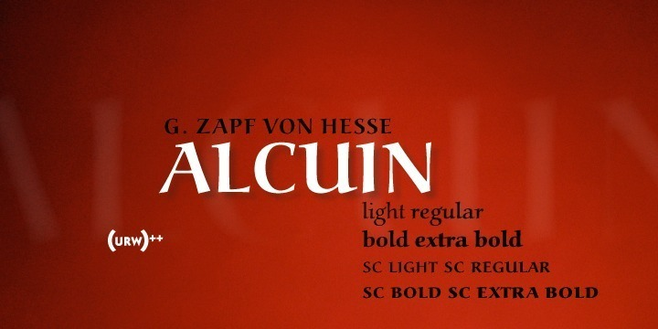 URW Alcuin, designed exclusively for URW by Gudrun Zapf von Hesse, was released by URW in 1991. The namesake of this typeface was a calligrapher and advisor of Charlemagne responsible for the writing reform of the Carolingian era. The idea of the URW Alcuin typeface family was to develop a modern font based on the forms of the Carolingian miniscule. To create a text font that is perfect for a wide variety of applications, elements typical for handwriting had to be removed while still preserving the calligraphic flow and character. Alcuin is a very beautiful text typeface with with obvious calligraphic traces perfectly suited for book and magazine design as well as for office communication.