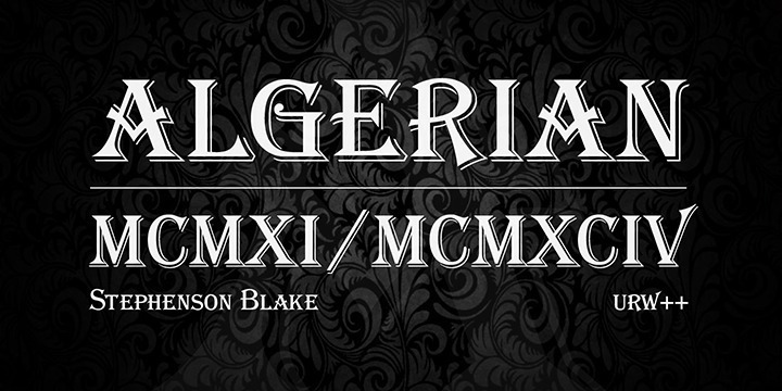 Algerian is a typeface design from England, released by Stephenson Blake around 1911. It is a caps only font that reminds on 19th century woodcut type. Algerian is therefore well suited for all 'Victorian' kinds of settings
