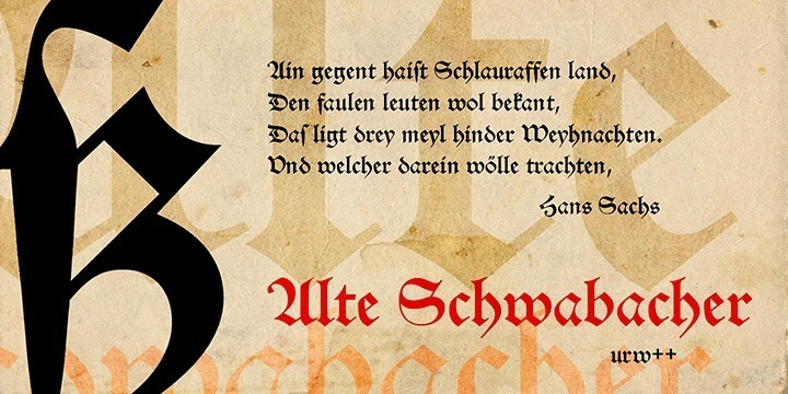 Schwabacher was the predominantly used typeface in Germany from about 1470 until about 1530. Schwabacher has round character forms other than Textura or Fraktur. It spread rapidly through the popular poems by Hans Sachs but even more through the Reformation. All works by Luther and other reformers were printed in Schwabacher. Gutenberg still used Black Letter handwritings (Textura) for his printings, but these styles were replaced by the Schwabacher