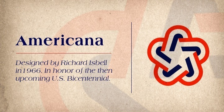 Americana was introduced by ATF in 1966, the foundry calling it later 'the most successful face ATF has introduced in many years'. It is the result of an assignment to 'return to elegance', being designer Richard Isbell's interpretation of that trend'. It features short, slightly concave serifs, short ascender, and capitals not quite as tall as ascenders, while being quite wide. Americana is best used for Display and Headline settings. It can even...