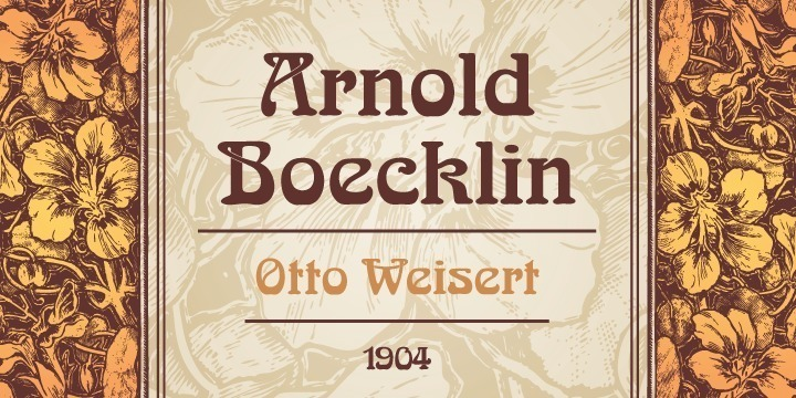 Arnold Böcklin Arnold Böcklin, probably the most popular and best-known Art Nouveau typeface, was designed by the German type foundry Otto Weisert from Stuttgart in 1904, at the height of the Art Nouveau period. It was named in memory of the Swiss symbolist painter Arnold Böcklin who died in 1901. Art Nouveau means decoratively swinging lines and floral ornaments, and both elements are perfectly incorporated in Arnold Böcklin. Legibility is not of highest priority, decoration is most important. Consequently, Arnold Böcklin should be used for headlines, posters and any other display setting.
