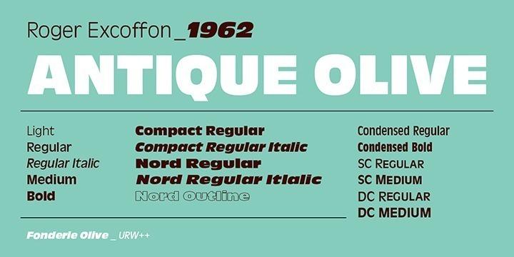 Antique Olive, zwischen 1962 bis 1966 von Roger Excoffon für die französische Schriftgießerei Olive entworfen, sollte die französische Antwort auf Helvetica und Univers sein. Aber die Schrift ist viel zu exzentrisch und eigenwillig, um mit der Vielseitigkeit und Neutralität der Helvetica und / oder der Univers konkurrieren zu können. Antique Olive hat eine sehr große x-Höhe und einen starken Kontrast, wo Kurven auf Balken treffen (p, q usw.). Das s scheint irgendwie falsch herum zu stehen. Diese Details unterscheiden sie sehr stark von den neutralen, linearen Serifenlosen. Antique ist das französische Wort für Sans Serif und so entstand der Name Antique Olive. Ursprünglich hatte Excoffon ein neues Logo für die Air France entwickelt, woraus später die Antique Olive als komplette Schrift entstand. Antique Olive erfreut sich nach wie vor großer Beliebtheit, natürlich vor allem in Frankreich, obwohl sie nicht einfach in der Anwendung ist. Sie ist eher nicht für längere Texte geeignet, um so mehr für Headlines, Werbung und Plakate. Sie kann bedenkenlos eng oder sehr eng gesetzt werden, ohne an Lesbarkeit oder Optik einzubüßen. Ihre Entstehungsgeschichte und ihre geometrischen, kompakten Zeichenformen deuten darauf hin, dass sie sich sehr gut für die Entwicklung von Firmenlogos verwenden läßt. Ihr Vorteil, nämlich ihre Charakterstärke und Eigenwilligkeit, ist zugleich ihr Nachteil gegenüber neutralen Serifenlosen wie der Helvetica und Univers.