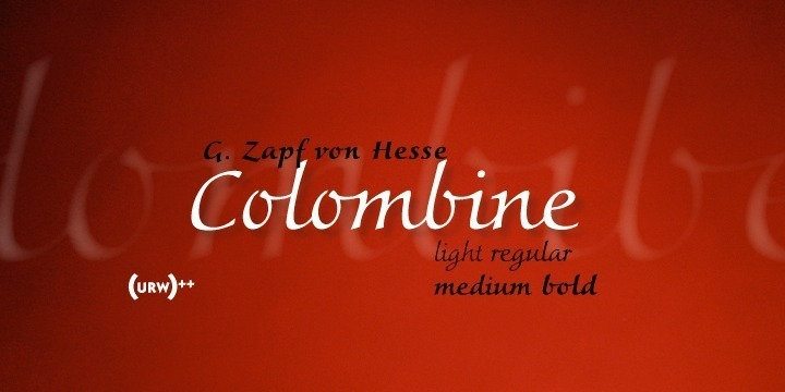 URW Colombine is a beautiful script typeface designed for us by Gudrun Zapf von Hesse. URW Colombine comes in four versions: light, regular, medium, and bold.  OpenType Pro indicates that URW Colombine doesn't only include the standard Latin character set for the Western world but a lot more: all additional Latin characters for Eastern Europe, different sets of figures (standard, old style, tabular), ligartures and – most important – contextual variants for a perfectly joining, splendid script typeface family! Altogether, there are about 1.000 characters per version in URW Colombine!  URW Colombine can be used for a variety of typographical work, e.g. invitations, personal correspondence, documents, cover design, book title design, cosmetics and so on.