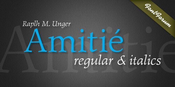 Amitié is another typeface design by Ralph M. Unger. With its French origin already hinted at in the name, Amitié comes across as friendly and lively. This design reflects Unger's interest and love in classical, expressive type with the right sense of style. Amitié is very readable at small sizes, but it can be used as well in headline sizes, e.g. for book titles and the like. As usual for URW++ fonts, Amitié is supplied with the full range of Latin glyphs including those for Eastern Europe.