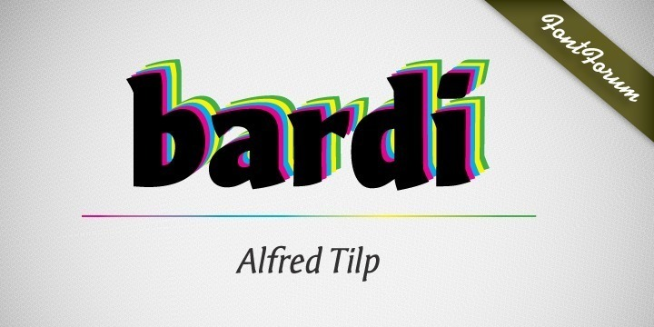 Bardi is a striking, moderately dynamic design suitable for many different typographic tasks. Its individual ductus is inspired by handwriting, however without calligraphic embellishment. There are no serifs but tiny endings which lead to think of wood-carving.