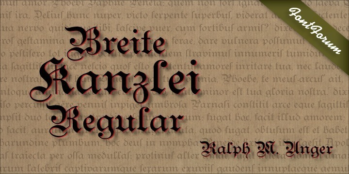 Ralph M. Unger, known for his preference for blackletter designs, brought this beautiful blackletter variant back to life. Based on artwork from old catalogues, he redesigned, digitally remastered and completed the character set for this typeface.Breite Kanzlei cannot be avoided by blackletter lovers.