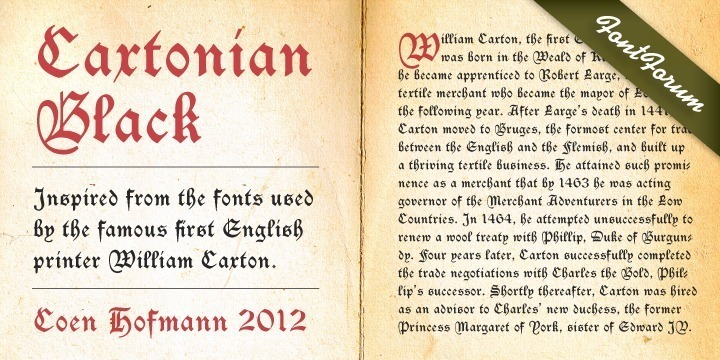 Coen Hofmann has rediscovered Blackletter font design and enriches URW's FontForum with two new and very beautiful fonts: Caxtonian Black and Holland Gothic. Caxtonian Black is a remarkable classical Fraktur inspriced inspired from the fonts used by the famous first English printer William Caxton. Coen Hofmann digitally re-mastered and completed the font for usage with modern technology.