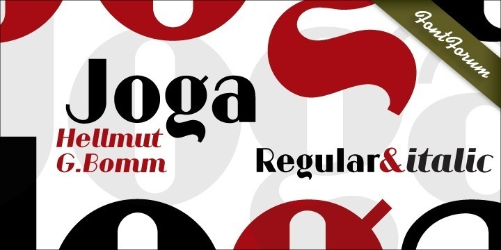 Joga is based on signage lettering designed for the Johannes Pharmacy in Backnang, in the German state of Baden-Wuerttemberg, many years ago, probably by the architect of the building. German type designer Hellmut G. Bomm, who has contributed a number of very beautiful and unique fonts to the URW FontForum during the last decade, was asked to redesign the pharmacy's letterhead, fax, business cards, etc., based on the original lettering. The result is quite pleasing: Joga is an expressive sans serif display font in the same vein as Broadway – very feminine, very beautiful and of classical elegance. Joga reminds one of Art Deco and theater posters, and it is easily recognized by its strong contrast and individual letter forms. Joga is precisely constructed, i.e., it was drawn on a grid. Bomm also designed an italic version, which is very original and kind of witty.