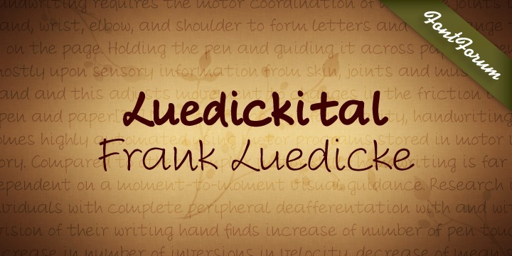 Luedickital is a handwriting script design. Luedicke wasn´t satisfied with existing scripts which he thought were too stylish and evenly. He simply digitized his own handwriting and developed a regular and a bold.