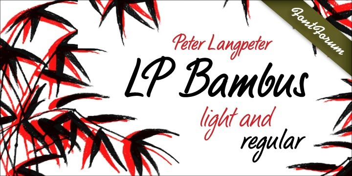 LP Bambus is another new handwriting script written with bamboo from German designer Peter Langpeter (lp-design.de). LP has been running his own design studio since 1995, working as a typeface and logo designer, as a calligrapher, cartographer and illustrator. During this time LP created a large number of excellent new typeface designs. Now, we are extremely happy that LP has chosen to let URW digitally produce and market his designs. LP Bambus is a very readable, light, dynamic-flowing and modern script.  Bamboo has been used for more thousands of years, originally for writing cuneiform script in Mesopotamia more than 5000 years ago.