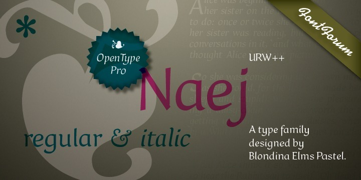 Naej is a font family for recreational children's storybooks. It is somewhat neohumanist in design, organic rather than mechanical. Calligraphic, with a humanist axis, Naej connotes the flavor of the Renaissance letters. Modulated stroke, modest x-height, modest contrast, large counters and apertures. This humanist influence has led to a typeface design is legible, fun, and inviting with a touch of elegance.