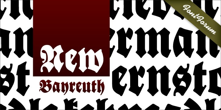 New Bayreuth is a new and improved version of the original Bayreuth font (F. H. Ernst Schneidler, 1932).  New Bayreuth was reworked, redesigned, completed and digitally remastered by Ralph M. Unger for URW++, based on specimen taken from old font catalogues.  Besides Ganz Grobe Gotisch and Legende, New Bayreuth is the third type design by Schneidler that URW++ brought back to (digital) life.