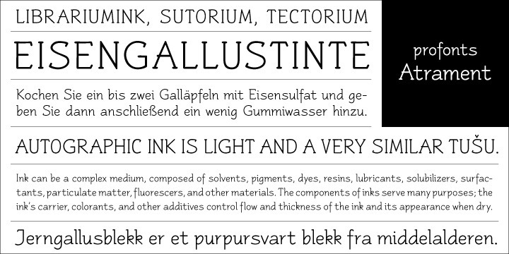 Another beautiful font design by German type designer Ralph M. Unger. Atramant is casual and easy, ideal for any setting in larger sizes. Still, due to its excellent legibility, it can also be used for little text blocks in smaller sizes.