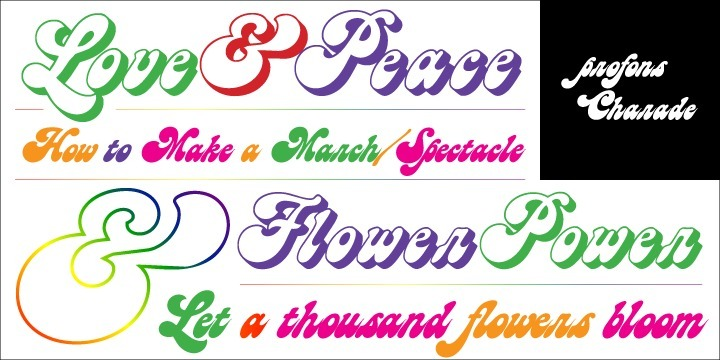 Charade is a soft, resonant design that beams of comforting warmths, joy and cosiness. It reminds of the 60ies and 70ies, flower power, party and having a good time. The outline and shadow styles are provided for special typographical expressions, for example for titles of films and videos.