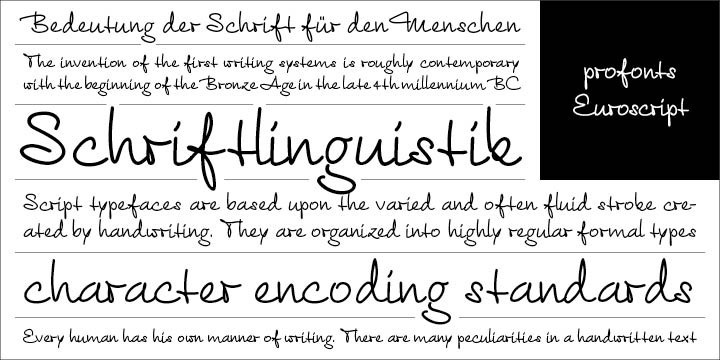 Euroscript is the handwriting of Ralph M. Unger. profonts persuaded him to try and produce his own very beautiful handwriting. Kind of hesitant at the beginning of the design process, Unger's joy and excitement about the project was continuously growing during the design process.    Euroscript is a very beautiful, casual, informal and modern handwriting. Even though a digitized handwriting, it keeps a very natural and pleasant look, at the same time being generous and well-readable. The individual characters combine quite easily and perfectly with no need for extra variants.    Euroscript is well-suited for plenty of applications, e.g. personal correspondence, invitations, greeting cards, headlines etc