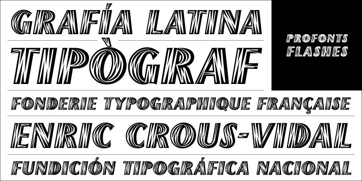Flashes is a striking display font based on the original drawings from the famous catalan designer and typographer Enric Crous-Vidal. Enric Crous-Vidal was the art director of Fondrie Typographique Francaise at which he also published the Flash typeface in 1953. As the the founder of the movement Grafia Latina he defended the need of creating system of typographic structures and graphics which reflect the Latin Genius.    Unger redesigned the font based on artwork from old font books, and extended the character set to cover not only standard Western but also the Central European character set.