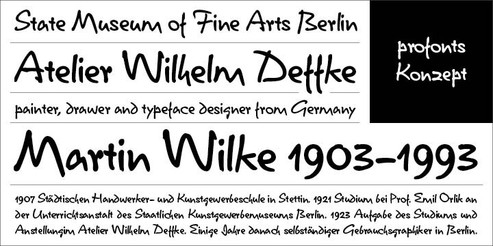 Konzept was originally designed in 1968 by Berlin designer Martin Wilke for the former German type foundry Stempel AG. Ralph M. Unger revived this beautiful contemporary typeface in 2005 for the profonts library. He re-designed, completed and digitally remastered it. Konzept is a very casual typeface with character forms rendering it a both very natural and realistic handwriting script.