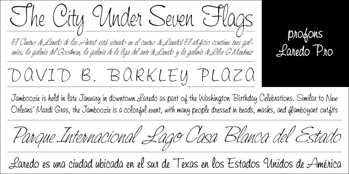 Laredo Pro is another handwriting font family designed at the profonts studio. It is an upright, peppy and dynamic design. Its liveliness and virility results from its handwriting character which is further strengthened by the varying stroke width and several very characteristic forms. profonts Laredo Pro can be taken for all any kind of typographic job where a strong and dynamic font is needed.?Laredo Pro includes a large number of additional ligatures and stylistic alternates to make this beautiful script design a perfect font for OTF-savvy applications.