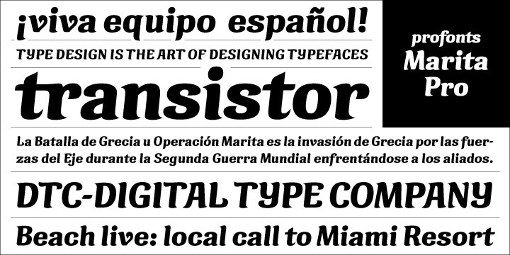 Marita Pro combines sternness with swing and, from this, develops its own, unique elegance. This makes Marita Pro quite versatile, also and especially for headline settings. Apart from numerous ligatures, the font also includes old style figures. Marita Pro is based on brush writing with drop-shaped serifs. The idea was to try to apply a given design criteria (also see Volker Schnebel's Manuel Pro and Martin Pro fonts) to every single character. In other words, start with a character and develop all of the others from it. This is quite easy for some characters but extremely difficult for others. This process generates creativity and the characters move away from the initial constructed sketch. Together in a typeface, the individual characters are now all of a piece and character.
