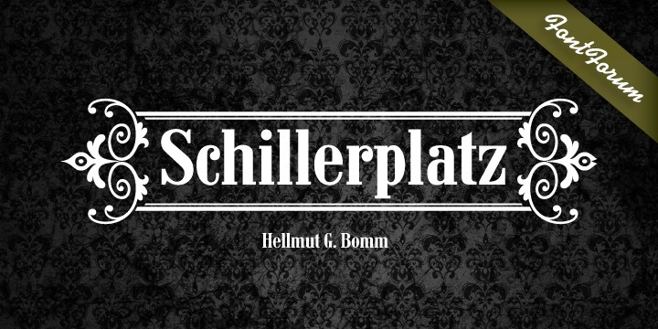 When the German city of Backnang asked Hellmut G. Bomm to draw the letterings 'Markgrafenhof' and 'Stiftshof' in the historical style of the street signs from the middle of the last century, he so liked what he had drawn that he consequently developed two complete font weights (regular and bold) from it. He named the typeface Schillerplatz. Both fonts are true representations of street signs – unquestionably beautiful.
