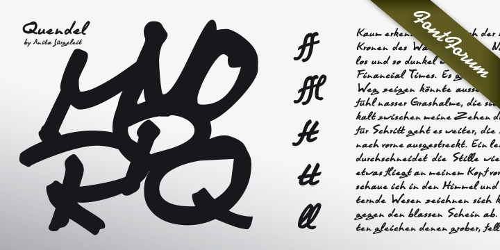 The typeface Quendel, made by Anita Juergeleit, is an expressive handwriting with a unique personality. Quendel is made to accentuate powerful and emotional messages. It has a high recognition value and a letter shape, which caresses your eye.