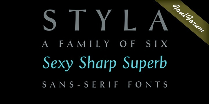 Styla is a refined romantic sans, in the best tradition of Didot and Bodoni. The combination between Styla's feminine grace and sharp endings creates an air of seduction, ideal for magazines, ads and books on fashion, fine arts, philosophy, luxury goods, women and love.    A typographic jewel, Styla brings romantic sensuality and refinement to the world of sans-serifs.