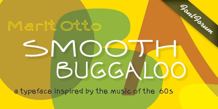 Marit Otto on Smooth Buggaloo: Just like my previous typefaces, my new one, Smooth Buggaloo, also finds its roots in music. The Boogaloo was a popular music style in the 60ties, a mixture of Latin and Rock and Roll music. Later Salsa took over this genre.   Latin music represents a vibrant, lively and an uncontrollable need to move. In the Smooth Buggaloo you will recognize a swing, flair and a hint of seduction.   But despite its vibrancy it can also be understood as a serious, simple and clean typeface. The characters vary between a handwritten and a designed look.   Smooth Buggaloo is very suitable for any graphic purpose, like logo- and posterdesign and it can also be used for longer texts.