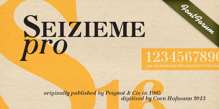 In 1905 the Parisian typefounders Peignot & Cie. issued their Série 16. This clear roman with a large x-height and an italics soon enjoyed a great popularity.  Coen Hofmann's drawings made for the Seizième follow the original Peignot Série 16 as close as possible. The regular font has the original small caps, while all members of the family are enhanced, next to the ranging ones, with old style figures. Also superior and inferior figures are available. The original series did not have a bold version. This was, however, carefully drawn for this digital rendition. The Série 16 and its versions for the composing machines were much used for the type setting of scientific publications. That is why a comprehensive set of mathematical and sundry characters are added to the Seizième fonts. Next to the accented characters for the several West and East European languages the Seizième was also enhanced with a Cyrillic, also available in regular, italic and bold versions.