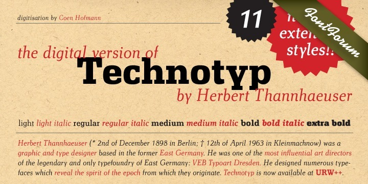 The digital font Technotyp is based on the hot metal typeface created by the German typographer and type designer Herbert Thannhaeuser (1898-1963) for the former East German type foundry Typoart in Dresden. In the typography book 'Der Schriftsetzer' (Fachbuchverlag, Leipzig, 1952), by Paul Fritzsche, this absolutely beautiful slab serif design is presented in all its variations. Fritzsche remarked that – because of its rather condensed form and its relatively long ascenders – the 'Werkschrift' of the Technotyp (comparable with our 'Regular') seemed to be very well suited to serve as a text face, and recommended for this purpose that the face be cut for the composing machine. However, this never happened and the entire Technotyp family was made available for hand composition only.  This is finally changing and being remedied for good now: URW++ proudly presents the new digital version of this really charming font family with its distinct flavor of the 1950s, adding it to the other digital renditions of Herbert Thannhaeuser fonts at URW++, namely Garamond No. 4 and Magna. The original Typoart family had an italic style for the light version only. The new digital version of Technotyp includes italic styles for the regular, medium and bold weights as well, enhancing the family to meet today's standards and requirements for professional type setting. To further increase its usefulness, Cyrillic faces were created, too. True to the standard for all digital fonts at URW++, the character set for Technotyp covers all West- and East European languages.