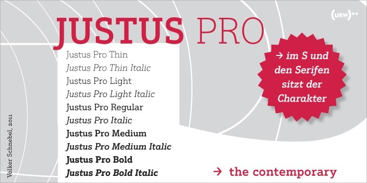 Justus Pro is a modern Egyptienne with a humanistic touch. It avoids the slightly rustic character of older Egyptienne designs and, despite its distinctive forms, develops a high level of elegance and readability.