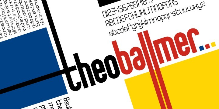 The Theo Ballmer font family is based on Theo's design ideas which were completed by his son Theo Ballmer (Thierry's father), and digitized by Thierry, with the help of URW++ and their Ikarus technology.  Theo Ballmer is available in 3 x 5 variants: condensed, regular, expanded each in 5 weights.  Theo Ballmer is a masterpiece, which fills a historical gap and provides a real font family from the Bauhaus era.